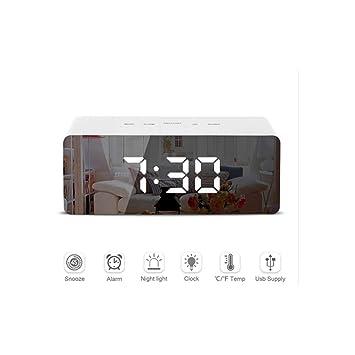 L&Z Espejo Led Reloj Despertador Digital Snooze Reloj Despertador de Mesa Luz ElectróNica Grande Temperatura Tiempo