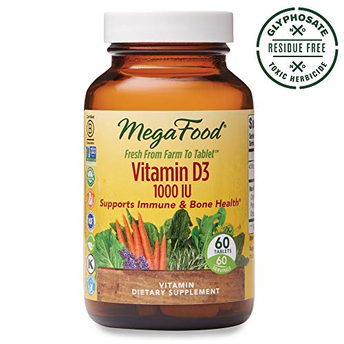 MegaFood, Vitamin D3 1000 IU, Immune and Bone Health Support, Vitamin and Dietary Supplement, Gluten Free, Vegetarian, 60 Tablets (60 Servings) (FFP) from MegaFood