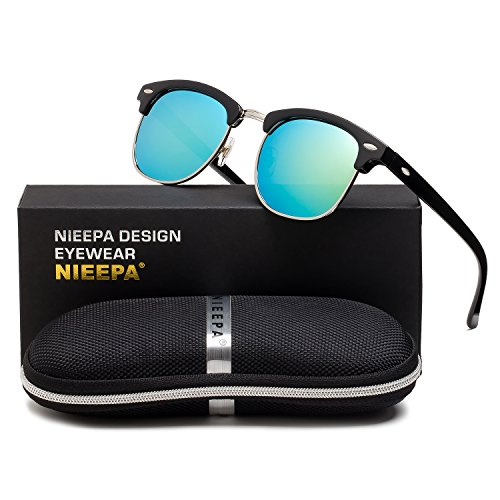 Rimless Metal Frame (NIEEPA Semi Rimless Polarized Sunglasses Classic Brand Sun Glasses With Metal Retro Rivets (Gold Lens/Bright Black Frame))