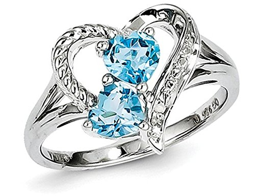 1.00 Carat (ctw) Blue Topaz Heart Promise Ring in Sterling Silver from Gem And Harmony