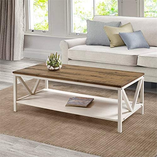 Walker Edison Furniture Company 48″ Distressed Farmhouse Coffee Table