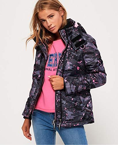 Womens Hooded Print Pop Zip SD-Windcheater Jacket Grey Desert Camo Splatter/Sugar Pink 14