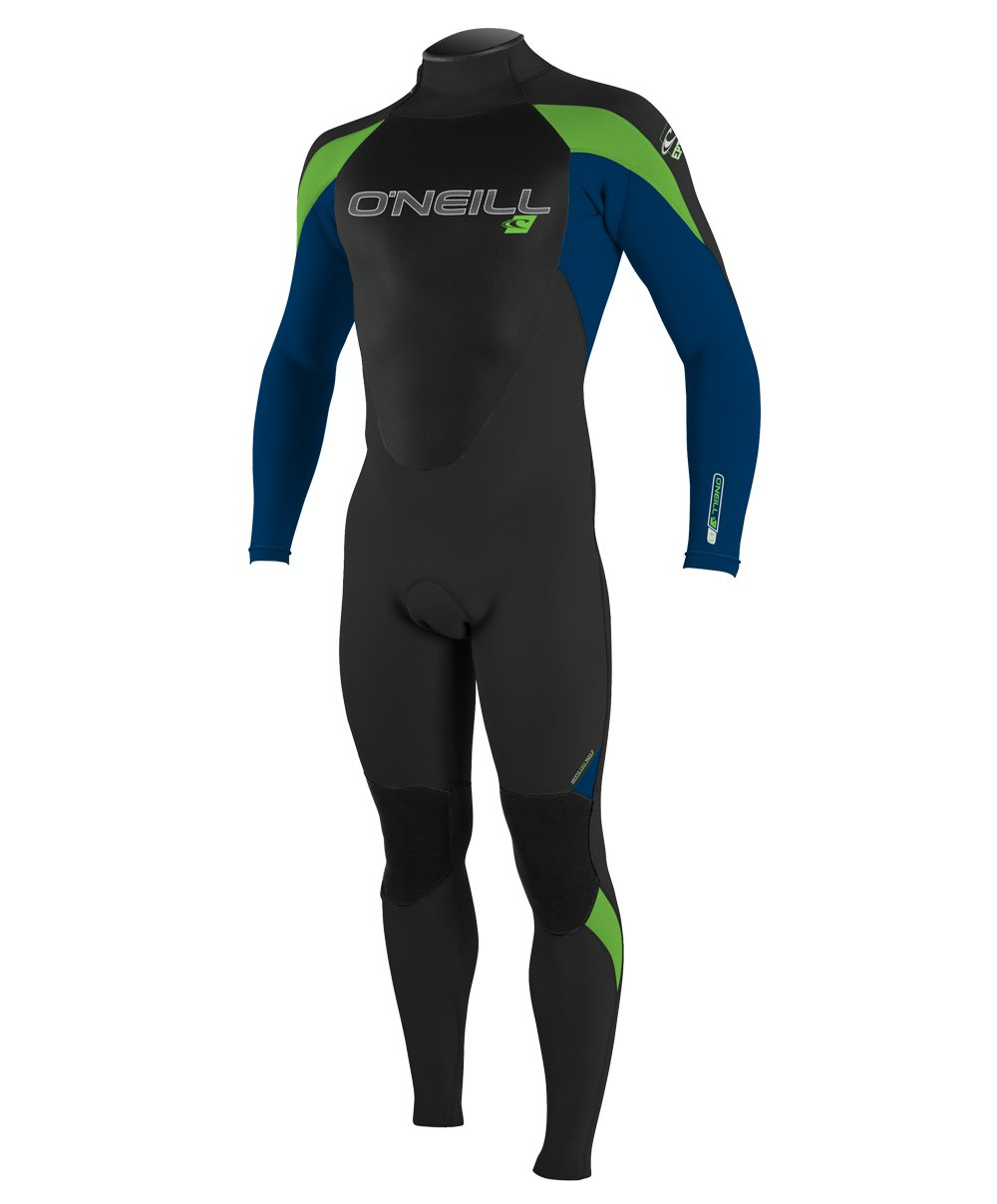 O'Neill Youth Epic 3/2mm Back Zip Full Wetsuit, Black/Deep Sea/Dayglo, 4
