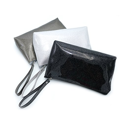 IINDYD Cosmetic Clutch Purse for Makeup, Hair Accessories - Set of 3 Grey, White, Black/Patent - 5s Tiffany
