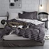 PQON 3 Piece Duvet Cover Set with Zipper Closure, Keep The Blanket Position, Fade & Stain Resistant - Queen, Navy