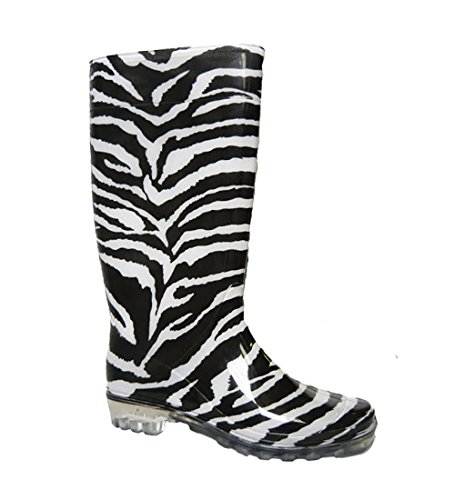 Damen Gummistiefel für Schnee und Regen und fürs Festival Zebra