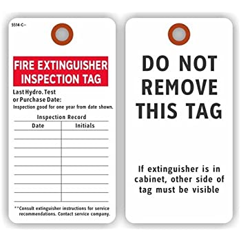 FIRE EXTINGUISHER INSPECTION RECORD Tags 2 Sided 575 X 3 White Cardstock