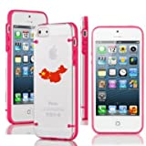 Apple iPhone 6 6s Thin Hybrid Transparent Clear Hard TPU Bumper Case Cover China Chinese Flag (Hot Pink)