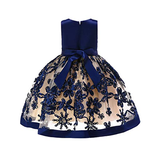 Toddler Little/Big Girls Dresses Floral Print Tie Knot Back Birthday Party Wedding Dress (4-5 Years, Navy) -