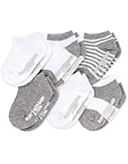Burt's Bees Baby Unisex Baby, 6-pack Ankle Socks With Non-slip Grips, Made With Organic Cotton