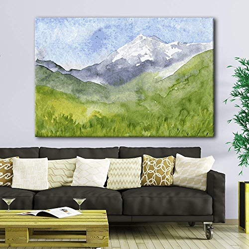 Watercolor Style Landscape Painting a Spring Mountain Valley Green Grass