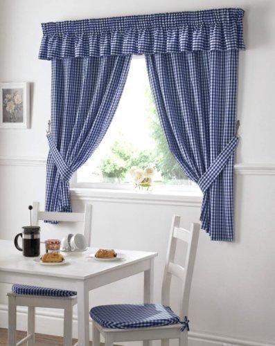 Rideaux cuisine vichy carreaux bleu blanc drap/és avec embrasses largeur 117cm x longueur 122cm