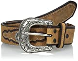 Dan Post Men's Crazy Hours Leather Ornamented Belt, Brown, 40