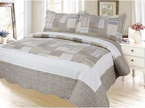 Plaid Printed Bedding 3 Piece Bedspread Quilt Set, King, Khakhi Beige by sazana