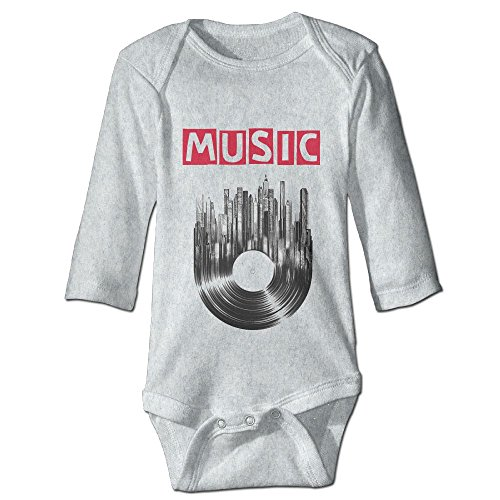 Price comparison product image PFREDW Music Heart Cd Disc Long Sleeve Baby Bodysuits