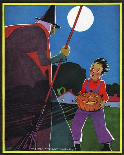 Boy carrying  jack-o-lantern startled by witch - Halloween Greeting Card -