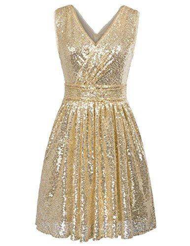 Gold Party Dress - Kate Kasin Sleevesless Sequined Sparkling Bridesmaid Dress Pleated Prom Gown US14 KK1089 Gold