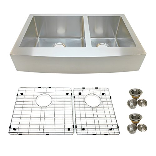 Auric Sinks 33quot Retrofit Short 6quot Apron Farmhouse Curved Front Double 60/40 Bowl Sink Premium 16 Gauge Stainless Steel 6:SCAR1633retro 6040