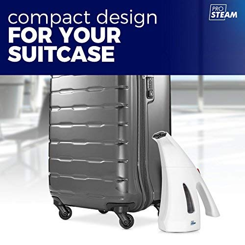Lightweight and Portable ProSteam Travel Garment//Clothes // Fabric Steamer Perfect for Travel Hand Held Sterilizes and Neutralizes Odors Heats Up in Less Than A Minute Wrinkle Remover