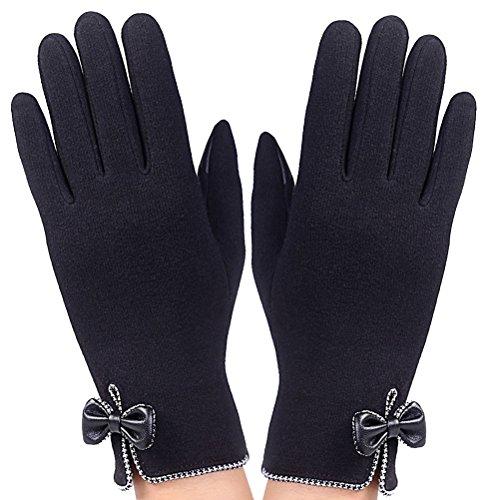 Nanxson(TM) Women Elegant Flexible Warm Full Fingers Winter Driving Gloves with Bowties ST0038 black