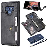 Ostop Samsung Galaxy Note 9 Back Wallet Case,Gray PU Leather Silicone Bumper Shockproof Sturdy Stylish Slim Case,Card Slots Holder Stand Flip Cover with Metal Magnetic Clasp