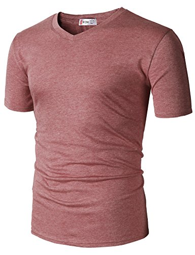 Solid L/s Tee - H2H Men's Short Sleeve Beefy T-Shirt HEATHERRED US M/Asia L (CMTTS0228)