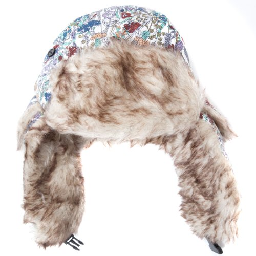 floral clip con Trapper Accessoryo Faux para 58cm auriculares piel blanco de colorido y falso azul estampado sombrero de borde de Ff6t6qw