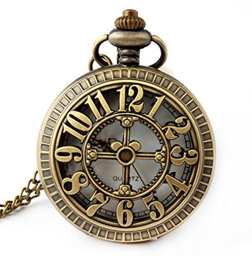 Retro Antique Bronze Skull Shaped Pocket Watch with 31 Inches Full Round Pocket Chain (Gold Watch White Pocket White)