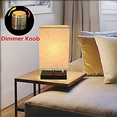 Bedside Lamp, KINGSO Dimmable E26/E27 Retro Nightstand Lamp Minimalist Solid Wooden Base Fabric Shade Desk Lamp For Coffee Table Bedroom Dresser Baby Room Living Room (With Dimmer Knob) (No Bulb)