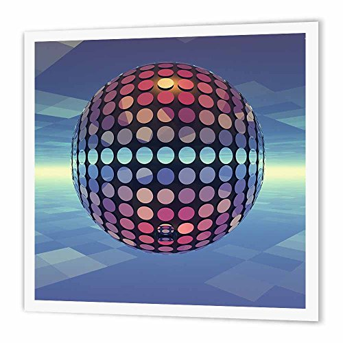 3dRose ht_19940_2 Mirror Ball Reflecting Mirror Disco Ball Dances in Atmosphere Above Earth-Iron on Heat Transfer for Material, 6 by 6-Inch, White