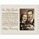 70th Anniversary Gifts for Her Him 70 year Wedding Anniversary gift for couple Parents Celebration Gift picture Frame Holds 1 4x6 Photo 8'' h X 10'' w by LifeSong Milestones (Ivory)