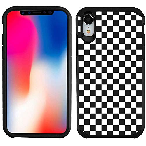 Checkers Case Protector (Dual Layer Case for Apple iPhone XR, One Tough Shield Hybrid Bumper Protector Phone Case - Checker B/W)