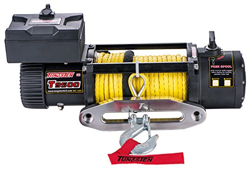 Tungsten4x4 T9500S Offroad 9500 lbs Load Capacity Electric Winch with Synthetic Rope, Hawse Fairlead...