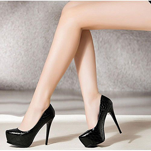 Aiurbag Femmes-casual-talons-confortable-a Stiletto-pu (polyuréthane) -noir Rouge