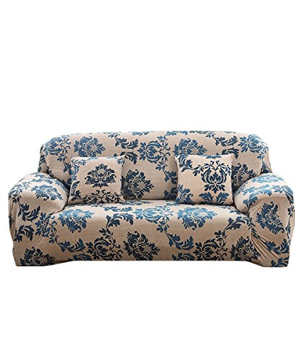 - MEIQB Floral Printed Wrinkle 1 2 3 4 Seater Sofa Cover Anti-Slip Elastic Slipcover Stretch Polyester Fabric Soft Furniture Protector Couch Cover(Provence, Two seater(57''-73''))