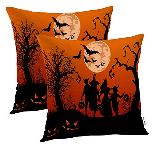 Batmerry Halloween Pillow Covers 18x18 inch Set of 2,Halloween Silhouettes Children Trick Moon Treat Flyer Silhouette Kids Throw Pillows Covers Sofa Cushion Cover Pillowcase