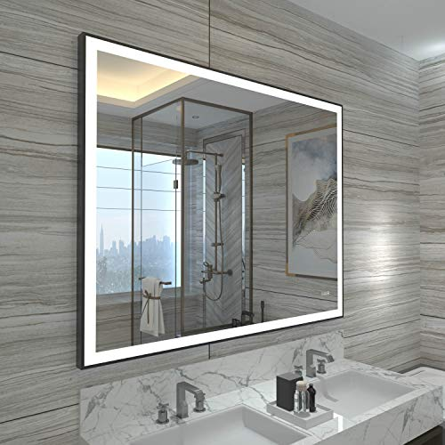 HAUSCHEN 32x40 inch Black Framed LED Bathroom Wall Mounted Mirror with High - Bathroom Led Mirrors Framed