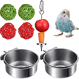 7PCS Bird Feeders – Bird Feeding Dish Cups Stainless Steel Parrot Fruit Vegetable Stick Holder Bird Treat Skewer Bird…
