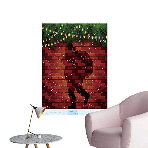 Wall Stickers for Living Room Christmas Background with Shadow of Santa,fir Tree Branches and Light Bulbs Vinyl Wall Stickers Print,24