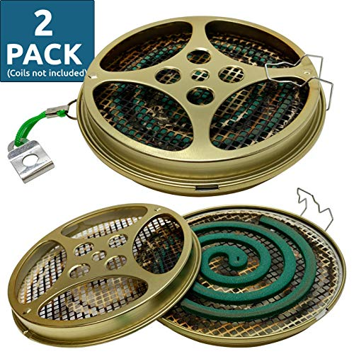 W4W Portable Mosquito Coil Holder - Mosquito Coil & Incense Burner for Outdoor use, Pool Side, Patio, Deck, Camping, Hiking, etc. (Includes Set of 2 Holders) (Best Mosquito Repellent For Camping)