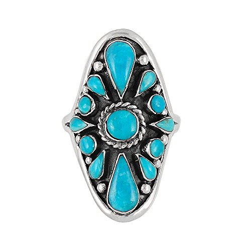 - 925 Sterling Silver Ring with Genuine Turquoise Sizes 6 to 11 (11)