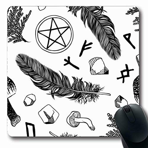 (Ahawoso Mousepads for Computers Chic Boho Witchcraft Pattern Ritual Goth Fungus Wicca Witch Abstract Black Design Contour Oblong Shape 7.9 x 9.5 Inches Non-Slip Oblong Gaming Mouse Pad)