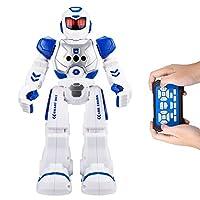 Robots de control remoto para niños - AOSENMA RC Robots con luces LED, robots de control de infrarrojos, canto, baile, habla, dos modelos para caminar, gestos sensados, robots sensitivos al gesto, azul