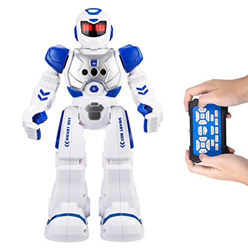 Remote Control Robots For Kids - AOSENMA RC Robots With LED Lights,Infrared Control Toys Robot,Singing,Dancing,Speaking,Two Walking Models,Senses Gesture,Gesture Sensing Robots, Blue]()