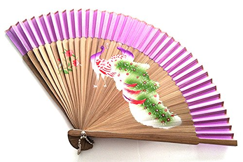 Wedding Accessories Hand Spray Painted Bamboo and Silk Hand-fan Purple with Peacock and Flowers Design - Fast Shipping from IL USA