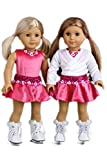 Ice Skating Girl - 4 piece outfit- pink leotard with skirt, white warm up sweater and white ice skates - 18 Inch Doll Clothes (doll not included)
