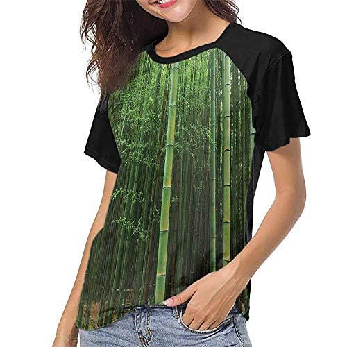 T-shirt Raglan Bamboo Womens - Raglan Sleeve Baseball Tshirt,Bamboo Decor,Picture of A Bamboo Forest Exotic Fresh Jungle Vision with Tall Shoots Tropic Wonderland Print,Green S-XXL Baseball Short Sleeve