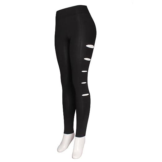 9e95a65fdb4a6 Amazon.com: A&O International Side Slits Black Leggings Plus Size ...