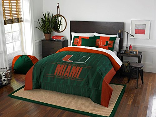 Miami Hurricanes - 3 Piece FULL / QUEEN SIZE Printed Comforter & Shams - Entire Set Includes: 1 Full / Queen Comforter (86