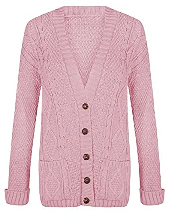 GirlzWalk Womens Long Sleeves Plus Size Cable Chunky Knitted Grandad Button Cardigan (Baby Pink, XL 12-14)